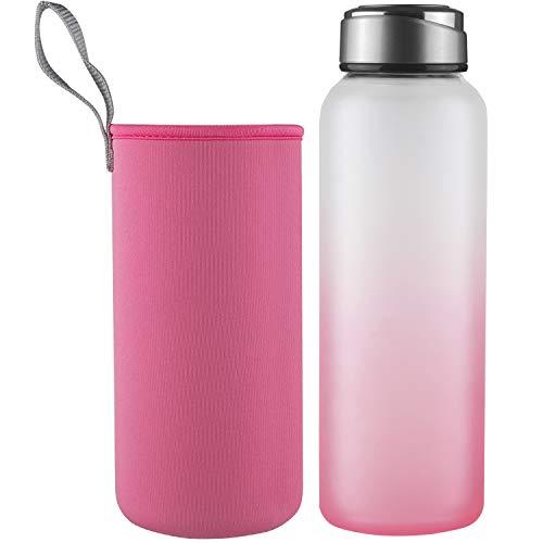 DEARRAY Sport Glas Trinkflasche,Borosilikatglas Wasserflasche mit Neoprenhülle und Stilvollem Edelstahldeckel(1000ml Rosa)