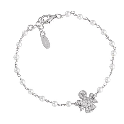 Bracciale Angeli AG925, Perle Swarovski e Zirconi, Colore: Rodio - Amen Collection