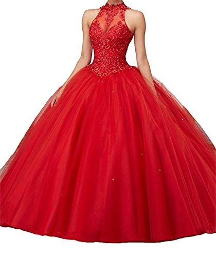Xuyudita vestiti da promenade dei branelli del merletto dell'abito di sfera aperto delle donne con il collo alto rosso-50 plus