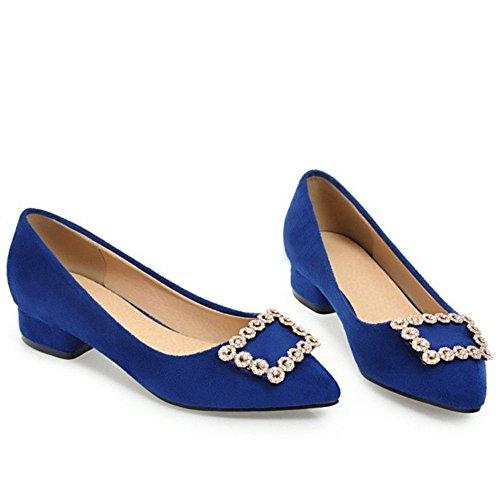 RAZAMAZA Femmes Talons Carre Escarpins blue