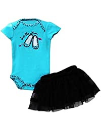 TOOGOO(R) New Fashion Baby Clothing Set Baby Girl Sets Romper+Tutu Skirt+Headband Newborn bebe Spring Summer Clothes-Blue/Black,12M