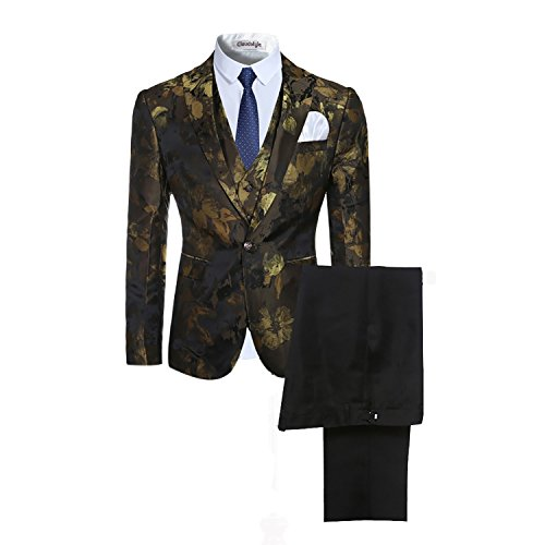 Modisch Slim Fit Schnitt Herren 3-TeiligAnzug Muster Design Hochzeit Party Gold
