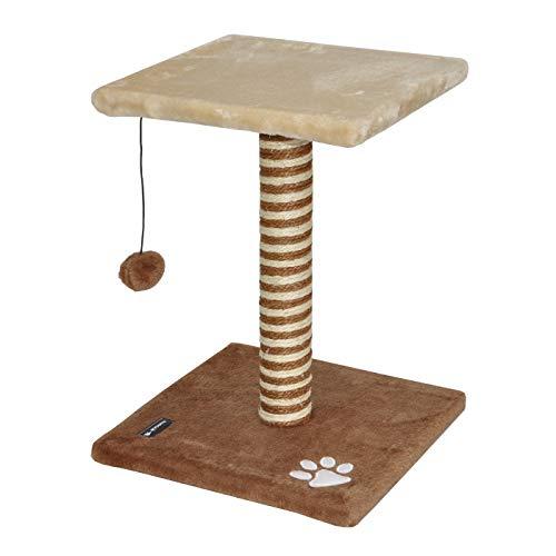 Produktabbildung von nanook Katzenkratzbaum LAZY, 44 cm mit Sitzplatz und Spiel-Ball für kleine, junge Katzen, braun beige