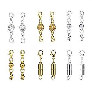 12 Stück Magnetische Schmuckverschlüsse,6 Größen und Stile Kettenverlängerer Magnetverschlüsse für Halsketten Armbänder