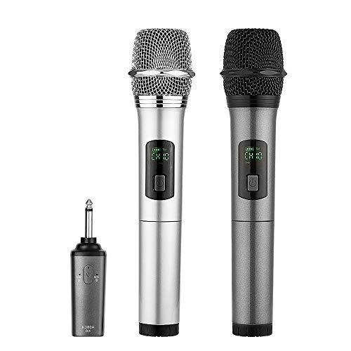 Microfoni Wireless Bluetooth Dual Microfoni Portatile UHF Microfono ARCHEER Microfono 10 Canali con Mini Ricevitore Bluetooth per Karaoke,Matrimoni,Chiesa,Festa con Famiglia,Insegnate