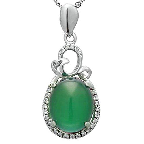 AmDxD Modeschmuck Anhänger Damen HalsketteOval Grün Chalcedon CZ Rahmung mit Kette 925 Silber