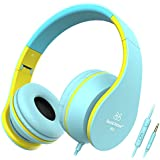 Sound Intone I68 faltbarer On-Ear Kopfhörer Headset, Lautstärkeregelung, Mikrofon und 3,5 mm Klinkestecker für PC/ Smart Phone/Ipad/ Ipod(Blau/Gelb)