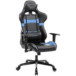 SONGMICS Bürostuhl Gaming Stuhl Computer Spiel Stuhl Bürostuhl Racer, Wippfunktion, Verstellbare Armlehnen, ergonomisch, Lendenkissen, Schwarz-Blau RCG22L