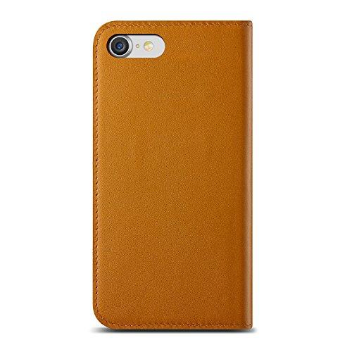 Urcover® Apple iPhone 7 / 8 Echt-Leder Handy-Hülle Tasche in Navy Schutz-Hülle [KARTEN- / GELDFACH] Zubehör Case Cover Wallet Etui Schale edle Lederhülle Braun