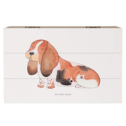 Mr. & Mrs. Panda Kiste, Schatulle, 19x12cm Holzkiste Hund Basset Hound - Farbe Weiß -
