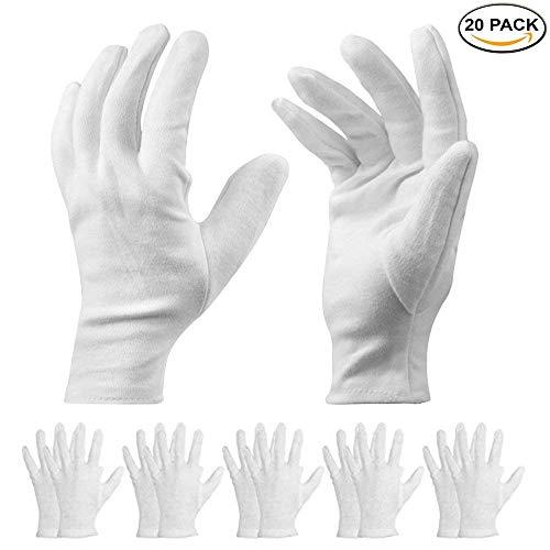 10 Paar weiße Baumwollhandschuhe - kosmetische feuchtigkeitsspendende Handschuhe für trockene Hände, Ekzeme, Schönheit, Münze, Schmuck und Silber Inspektion - Unisex