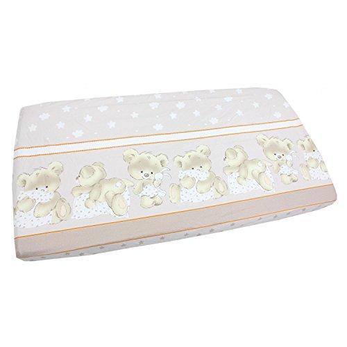 TupTam Baby Spannbetttuch mit Gummiband Gemustert ANK004, Farbe: Bärchen Beige, Größe: 70 x 140 cm