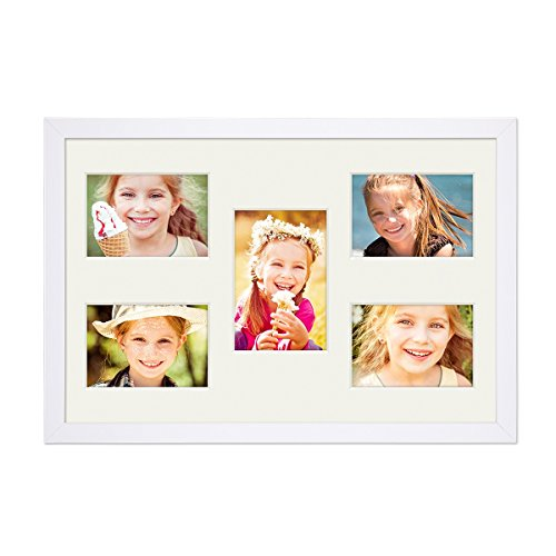 PHOTOLINI Fotocollage-Bilderrahmen 30x45 cm Modern Weiss Collagerahmen Bildergalerie-Rahmen für 5 Bilder Wechselrahmen mit Passepartout (Galerierahmen Weißer)