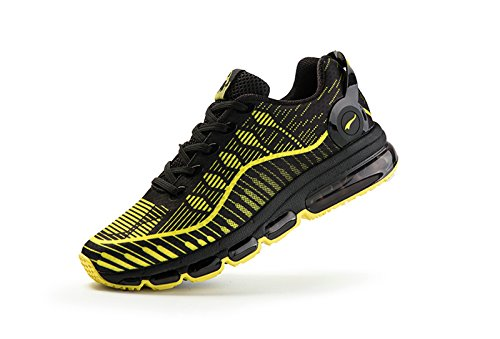 Onemix Herren Air Laufschuhe 2017 Fitness Luft Sportschuhe Runners Sneakers,Gr 39-46 Schwarz Gelb