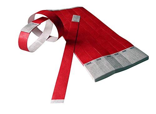 500 pezzo Braccialetti Tyvek numerato ampia misua – rosso