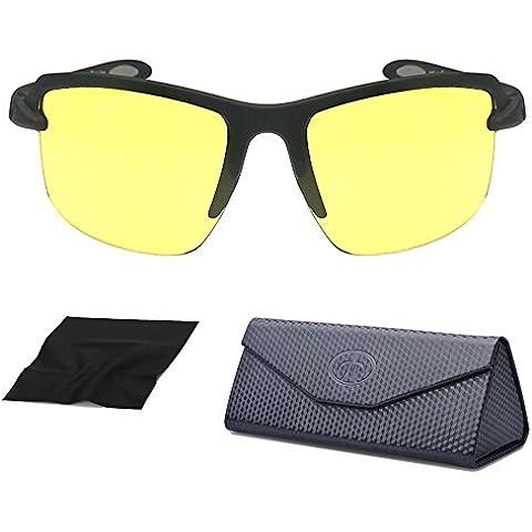 Acwenie UV400 Anti-fog HD Visione Notturna Occhiali per la Guida di Sport Ciclismo Occhiali da Sole Riduce lo Sforzo Degli Occhi e Anabbagliante con Pieghevole Case-giallo in Pelle Lens