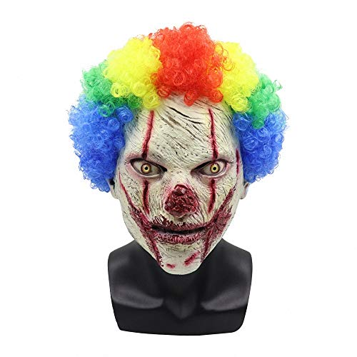 Scream Kostüm Scary - Miarui Halloween lustige Clown Maske Fasching Vollmaske Scream Horror Maske Scary Zombie Maske Halloween Kostüm für Halloween Fasching Karneval Party Kostüm Cosplay Dekoration