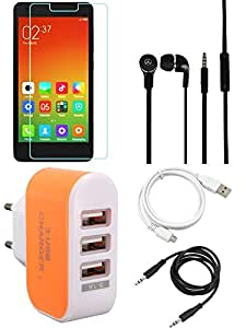 NIROSHA Tempered Glass Screen Guard Cover Case Headphone USB Cable Charger for Xiaomi Redmi 2s - Combo