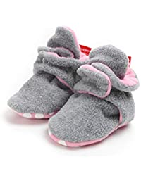 TMEOG Unisex-Baby Newborn Cozie Fleece Booties with Non Skid Bottom Infant Winter Shoes