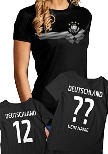 RoughTex Damen Deutschland Trikot | Fan T-Shirt personalisierbar eigener Name und Nummer - Funktions-Shirt atmungsaktiv schnelltrocknend schwarz-weiß personalisiert M