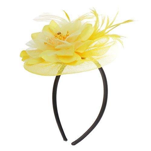 Hochzeit Damen Feder Fascinator Haarreif Blume Schleier Hut Kopfband Haar-Accessoires - Gelb