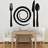Zbzmm Wallsticker Home Bedroom Spiral Plate and Wall Decal Removable Wall Sticker Vinyl Pattern Black Art Dining Room Kitchen Mural Art 67 * 58Cm