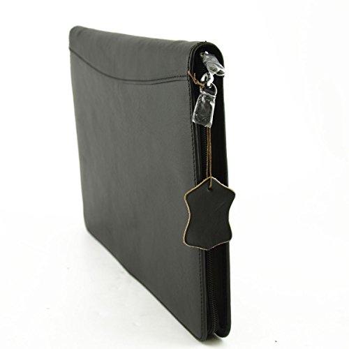 Porta Documenti A4 In Vera Pelle Con Scomparti Interni Colore Nero - Pelletteria Toscana Made In Italy - Business
