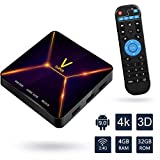Android TV Box,Super V Android 9.0 TV Box 4GB RAM/32GB ROM Rockchip 3318 Quad-Core Support 2.4Ghz WiFi BT4.0 3D 4K HDMI DLNA 3D Smart TV Box