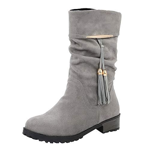 Tefamore Botas Mujer Invierno Tacon Botas Altas Botines Zapatos con Aumento de Borla Round Toe Flat...