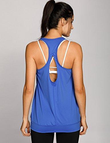 SYROKAN Damen Sport Tank Top - Essential Fitness T-Shirt Tops Blau