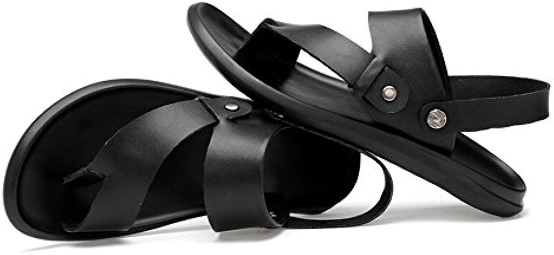 Jiuyue shoes  Männer weichen Sommer Strand Hausschuhe rutschfeste Sohle Sandalen schwarz Herren Sandalen (Farbe