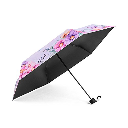 Bonamana Einhorn-Muster-Regenschirm 5-faltender gehender Regenschirm Winddichter Anti-UV Sun-faltender Regenschirm