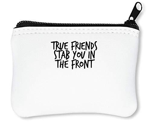 True Friends Stab You In The Front Bw Reißverschluss-Geldbörse Brieftasche Geldbörse -