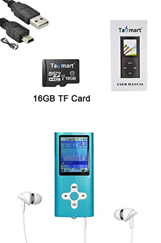 Tabmart® MP3 MP4 Musik Player Inklusiv 16 GB MicroSD Unterstützung Audio Player Media Player FM Radio E-Books Lange Akkulaufzeit 1,81 Zoll Farbdisplay Musik Player Blau