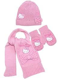 Echarpe, Bonnet et Moufles bébé fille Hello kitty Rose de 0 à 9mois