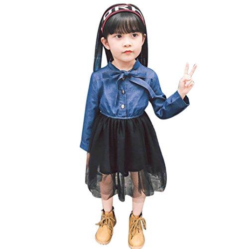 Amlaiworld Mädchen Langarm Denim Tutu Babys Flickwerk Kleidung Kinder Niedlich Kleider (3 Jahren, Blau) (Denim Langarm Kostüm)