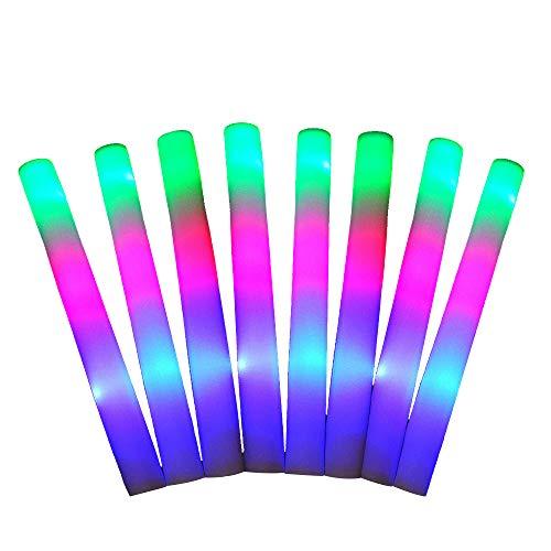FineInno 50 Stück Mehrfarbig Schaumstoffstab LED Glowstick Party Knicklicht mit 3 Blinkenden Modi Wiederverwendbare für Festivals, Geburtstag, Hochzeit (50 Stück)