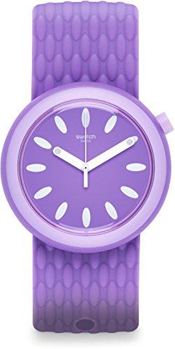 Swatch Damen Digital Quarz Uhr mit Silikon Armband PNV101 - Uhren Lila Swatch Damen