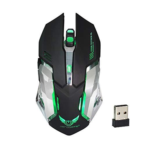 DiiZii Kabellose Gaming Maus Wiederaufladbare Maus für PC Laptop Mac Silent Schnurlos Maus Geräuschlose LED Wireless Gaming Mouse 2400 DPI 6 Tasten Optische Maus