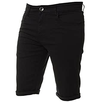 Kruze Mens Chino Shorts Designer Jeans Casual Blue Black Red Tan, BNWT 28 Black