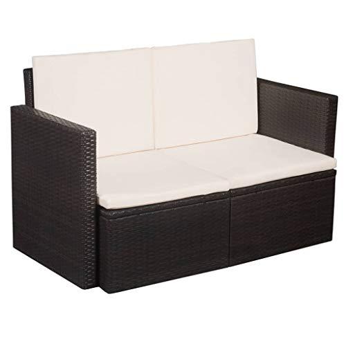 Festnight 2-Sitzer-Sofa | Garten Lounge Sofa | Rattan-Lounge | Poly Rattan Gartensofa | Outdoor Lounge Sessel | Rattan Gartenmöbel | Braun und Cremeweiß 118 x 65 x 74 cm