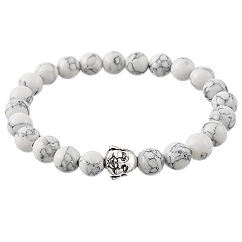 HOUSWEETY 1pcs Bracelet Bouddhiste Perles de Priere Style Retro Fantaisie prix mini Bracelets Bracelets Extensibles Pour Homme Femme