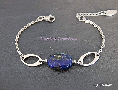 Bracelet gourmette acier inoxydable lapis lazuli véritable, bijou fin, discret, longueur au choix, idée cadeau
