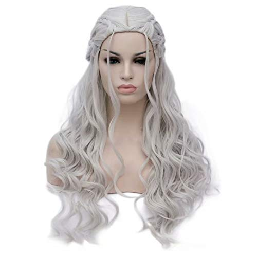 men Long Wavy Curly Heat Resistant Synthetic Hair Comic Cons Cosplay Wigs Braids (Silver) ()