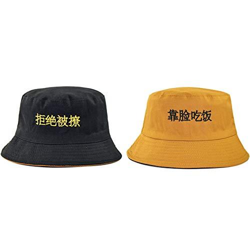 COOOOEENS gelbe Farbe Bucket Hat für Männer Frauen Charaktere gestickte Double Sides Cotton Hat