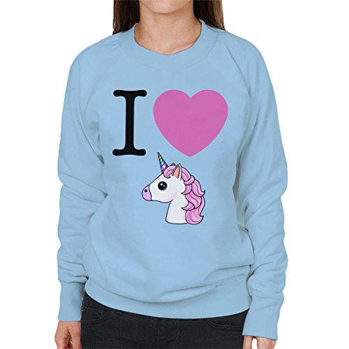I Heart Unicorns Emoji Womens Sweatshirt Sky Blue