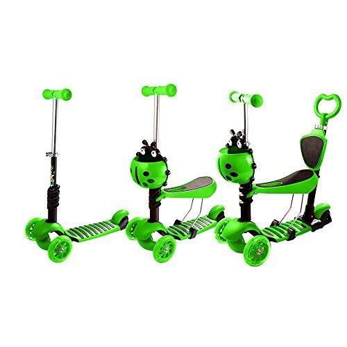 WeSkate 5-in-1 Kinderroller Kinderscooter mit Sitz | 3 Räder Verstellbare Mini Scooter Roller Tretroller für Kleinkinder Kinder Jüngere Mädchen mit Blinkenden LED-Rollen ab 2 Jahre 40 kg Blau - Walker Rest Sitz