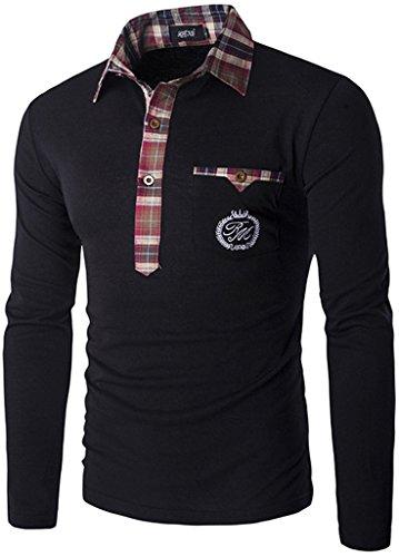 Whatlees Herren Urban Basic Karo Einsatz langarm T shirts Polo Hemd Muskelshirt mit weiches Jersey B112-Black-M