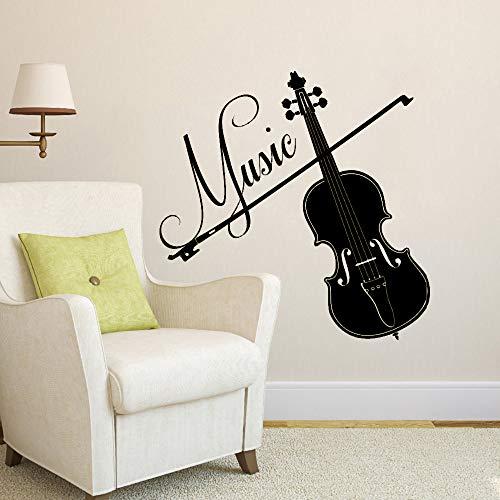 Violine Vinyl Wandtattoos Interior Home Decor Wohnzimmer Abnehmbare Musical Wandaufkleber Für Tonstudio Schlafzimmer schwarz 56x56 cm -