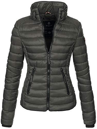 Marikoo Marikoo Damen Jacke Steppjacke Übergangsjacke gesteppt mit Kordeln Frühjahr Camouflage B405 (XS, Anthrazit)